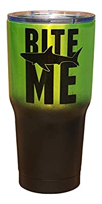 Bite Me with Shark   Matte Black and Metallic Neon Green   Stainless Steel Insulated Travel Tumbler Cup   Funny for Men