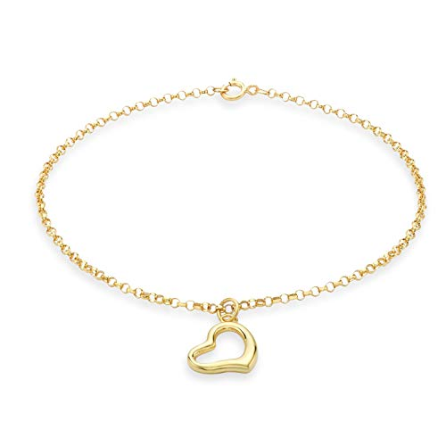 Carissima Gold Damen Heart Charm Rund Belcher Armband 9k(375) Gelbgold 1.5mm 18cm/7zoll