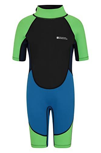 Mountain Warehouse Traje de Buceo para niños - Cuerpo: 2.5mm, Neopreno con Cremallera de fácil Deslizamiento - Costuras Planas - Cuello Ajustable -para bucear en Verano Azul Brillante 3-4 Años