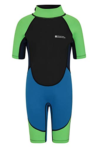 Mountain Warehouse Kids Shorty Wetsuit - Flat Seams, Easy Glide Zip Children's Wetsuit, Neoprene Swimming Wetsuit, Adjustable Neck Closure Diving Suit - for Surfing