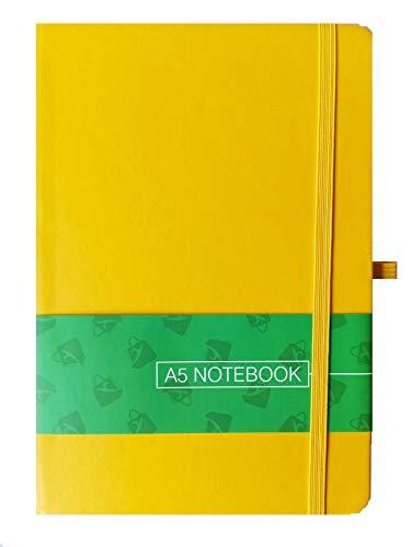 Quaderno A5 con copertina rigida a righe, taccuino, diario con portapenne, per ufficio, casa, scuola, colore: giallo