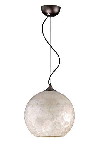 DekoArte Pendant - Lámparas De Techo Colgantes Decorativa E-27 | Metal color Marrön, Pantalla Nácar Estilo Contemporáneo | Ideales para Decorar Salón, Dormitorio | Clase de Eficiencia Energética A+