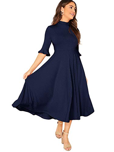 Verdusa Women's Elegant Ribbed Knit Bell Sleeve Fit and Flare Midi Dress Navy M