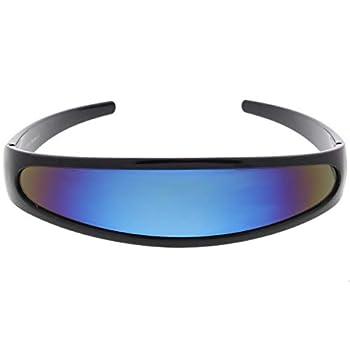 Futuristic Narrow Cyclops Color Mirrored Lens Visor Sunglasses  Black Ice
