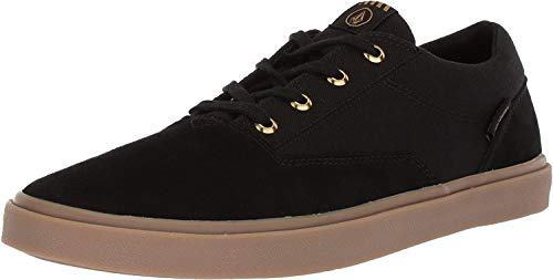 Volcom Men's Draw LO Suede Fashion Shoe Skate, Black Out, 11 M US