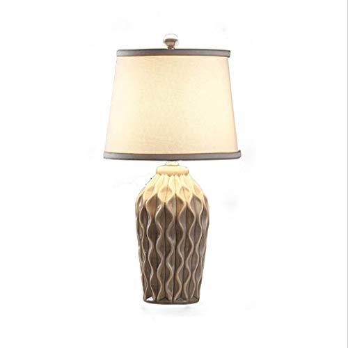 Lámpara de mesita de noche Lámpara de mesa de noche de cerámica vintage, luz creativa del dormitorio de la personalidad, control remoto inteligente Lámpara de escritorio junto a la cama Dormitorio Sal