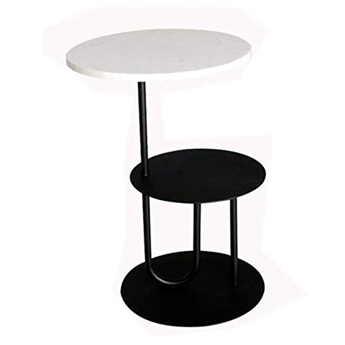 JINKEBIN Mesa de centro plegable de 2 capas, mesa auxiliar redonda, soporte extraíble en la sala de estar, comer, trabajo, escritura, muebles de oficina, mesa de café vintage (color blanco-blanco