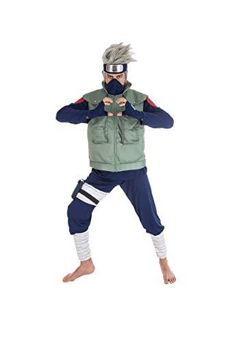 Generique - Naruto Kakashi-Kostüm für Herren Lizenz-Verkleidung grün-blau XL