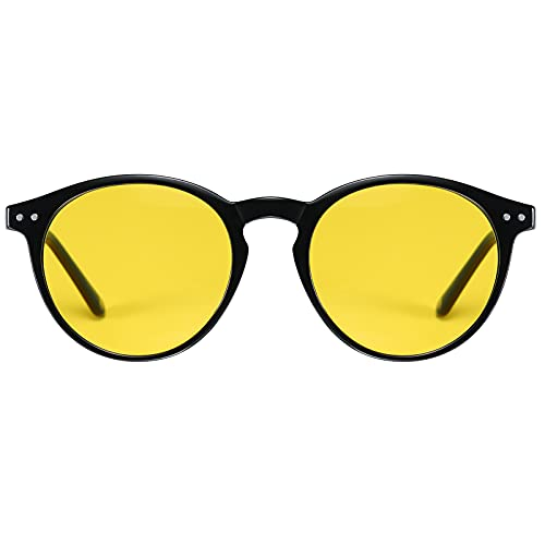 H HELMUT JUST Gafas De Sol Para Hombre Mujer Conducir de Noche Polarizadas Retro Redondas TR90 y Acetato Anti Reflejos