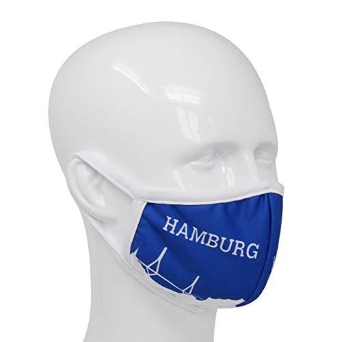 Maske mit Länderflagge aus Baumwolle waschbar, wiederverwendbar - Gesichtsmaske für Erwachsene, Damen und Herren mit Land (Hamburg)
