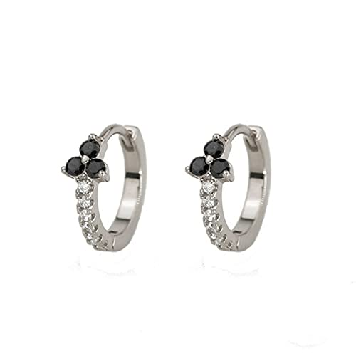 BSbattle Pendientes de aro de plata de ley 925 para las mujeres ópalo Zircon pendiente aros de lujo mini pendientes oído S925 joyería pendientes, Cristal, desconocido,