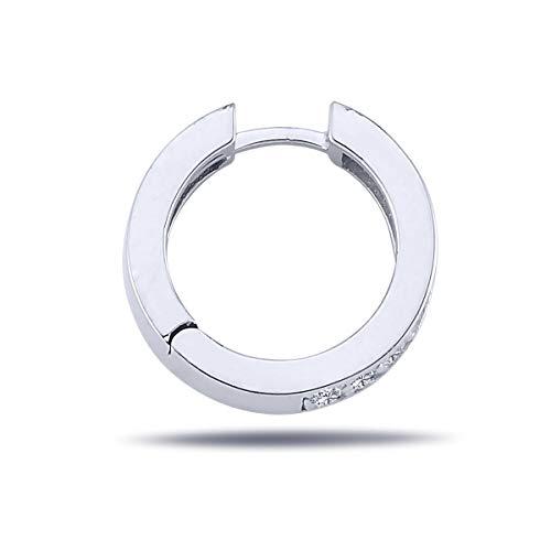 Pendientes de aro de diamante para hombre en oro blanco de 14 quilates