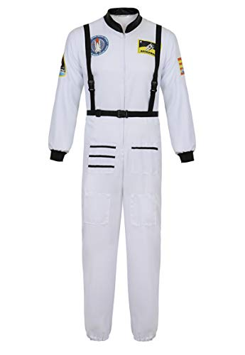 Mens Astronaut Costume Adult Dress Up Clothes Space Fancy Jumpsuit Cosplay Onesie White-S
