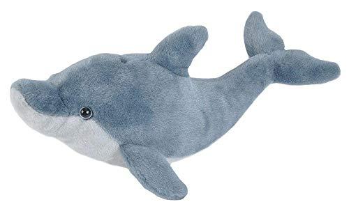 Wild Republic 22449 Plüsch Delfin, Cuddlekins Kuscheltier, Plüschtier, 20 cm, Schwarz