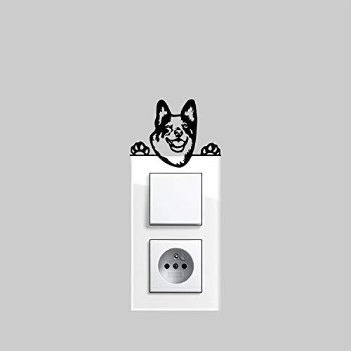 myrockshirt - Pegatina para interruptor de luz, diseño de perro australiano Cattle Dog tipo 3, aprox. 10 cm, para coche, barniz, cristal y pared, adhesivo de pared, adhesivo de calidad profesional