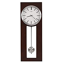 Howard Miller Madison Wall Clock 625696 – Espresso Finished Frame, Bright White Dial, Contemporary Home Decor, Satin-Silver Finished Pendulum, Quartz Movement