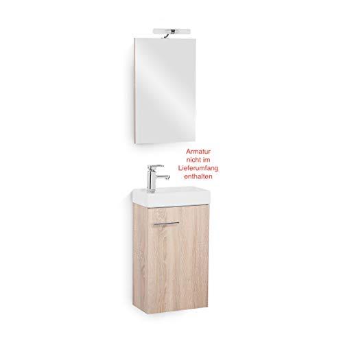Galdem Bad-Set Bologna Gäste WC Set Gästebad Badmöbel Waschbecken Unterschrank Keramikwaschbecken Waschtisch Spiegel Halogen Beleuchtung Eiche Sägerau