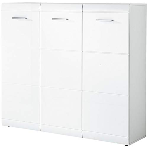 ambiato schoenenkast Diana 3-deurs in wit met hoogglans fronten, 134 x 120 36cm (B/H/D)