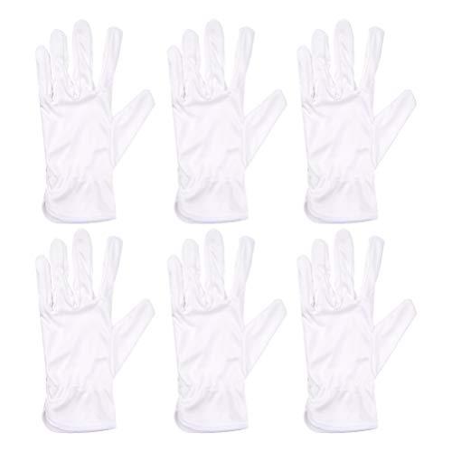 PIXNOR witte microvezel handschoenen stof vingerafdruk bewijs voor lenslook sieraden salon schoonheidshandschoenen inspectie stofhandschoenen vrouwen mannen 10 paar (maat M) 21x9cm wit