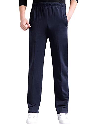 Youlee Hommes Taille Elastique Fermeture éclair Pantalon Droit Étirable Pantalon de Sport Poches à Fermeture éclair Blue M