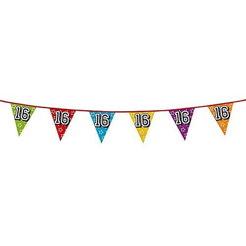 Boland 30016 - Holografische Wimpelkette Zahl 16, 1 Stück, Länge 800 cm, Fahnenkette, Sterne, Hängedekoration, Mehrfarbig, Girlande, Mottoparty, Geburtstag, Jubiläum