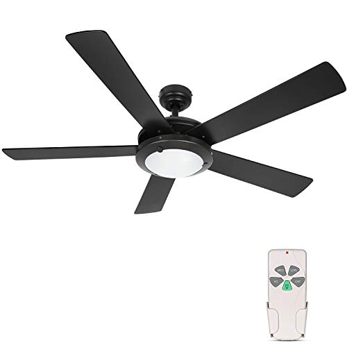 Hykolity 52 Inch Modern Style Indoor Ceiling Fan with Dimmable Light Kit and Remote Control, Reversible Motor, ETL for Living room, Bedroom, Basement, Kitchen, Garage