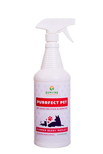 Sunline Purrfect Pet | Professional Strength All Natural Pet Stain & Odor Enzyme Eliminator | Removes Dog Cat Urine Smells from Carpet, Furniture, & Other Surfaces | Discourages Repetition (32 oz)