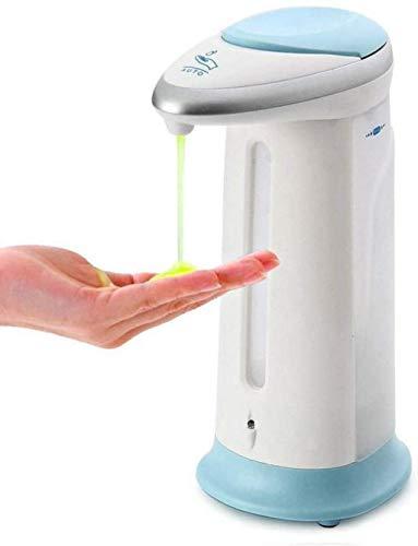 Dispensador de jabón automático sin contacto, dispensador de jabón desinfectante con sensor de movimiento por infrarrojos, 300 ml, ABS, color blanco y azul