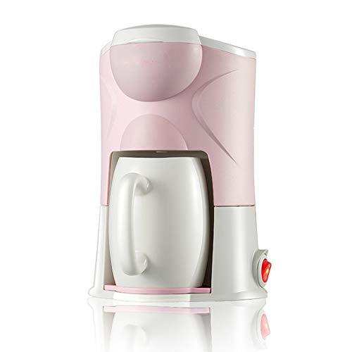 HUIDANGJIA Cafetera de Goteo, Mini Cafetera Portátil con Diseño Compacto,Cafetera Eléctrica con Filtro Reutilizable, 0.15 L, Plastic (Rosado)