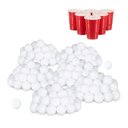 Relaxdays 288er Set Beer Pong Bälle, ohne Aufdruck, Kunststoff, ohne Naht, Trinkspiel, Tischtennisbälle, 38 mm, weiß