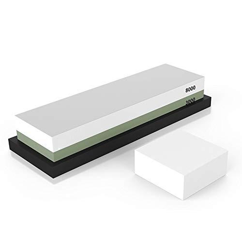 Venta superior caliente Piedra de afilar 2 Side Grit 3000/8000 Whetstone |Mejor cuchillo de cocina Afilador Waterstone con antideslizante Rubbe