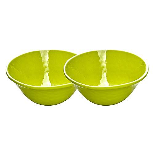 Les Jardins de la Comtesse - Set de 2 Bols en Mélamine Pure - Aspect Martelé - Vert - 17 cm - Service de Table - Collection de Vaisselle Quasi-Incassable MelARTmine