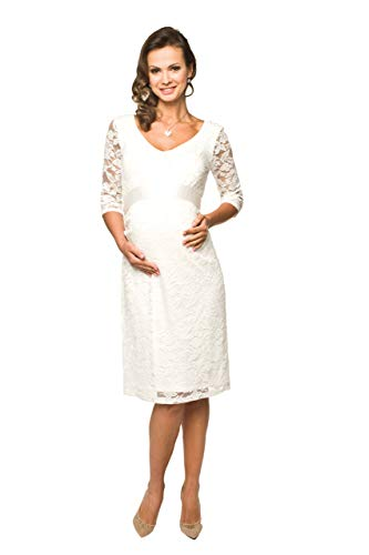 Torelle Damen Umstandskleid Brautkleid für Schwangere, Modell: LACE, 3/4 Arm, Creme, XXL