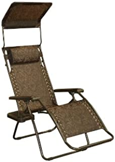 Bliss Hammocks Zero Gravity Chair with Canopy and Side Tray, Brown Jacquard, 26