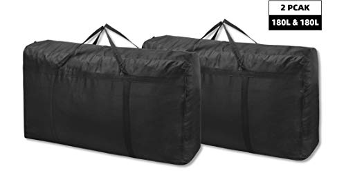 180L 2 Piezas Talla grande Bolsa Plegables para Ropa - Bolsa de Almacenamiento para Ropa con Cremallera - Bolsa de Transporte para la Universidad para Camping, Festivales, Lavable(Negro)