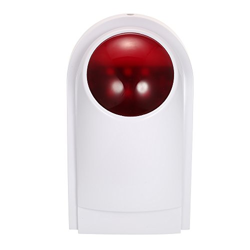 OWSOO Alarma Sirena Inalámbrico Alarma de Luz Flash Impermeable Compatible con 433MHz Control Remoto, Sensor de Puerta, Detector PIR para Sistema de Alarma en Hogar