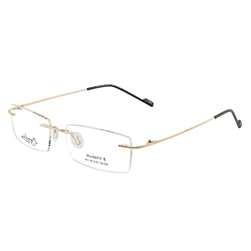 Zyaden-Rimless-5 Golden Rectangular Unisex Eyeglass Frame (RIMLESS-A5)