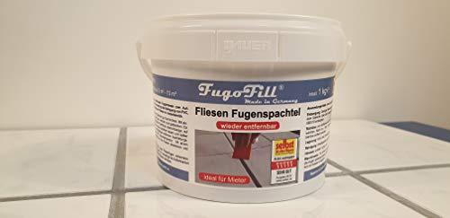 1 kg FugoFill KOMPLETTSET (inkl. Spachtelset und Schaber) entfernbare Fugenmasse Fugenspachtel zum Ausgleichen von Fliesenfugen bei Vinyl, PVC, Teppich oder Laminat auf Fliesen IDEAL für MIETER