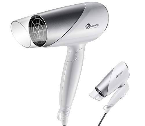 Basuwell Ionic Portable Folding Hair Dryer, 1600W Ceramic Tourmaline Blow Dryer for Home Travel, Compact Size Lightweight Blow Dryer Best for Pregnancy Kids Use, 2 Speed and 2 Heat Setting