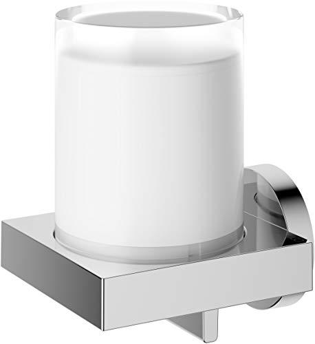KEUCO Lotion-Spender Metall verchromt und Kristall-Glas, Inhalt nachfüllbar ca. 180ml, Seifenspender für Bad und Gäste-WC, Wandmontage, Edition 90