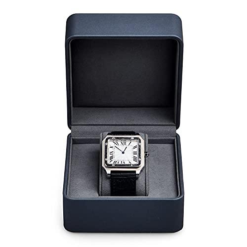 Oirlv caja de reloj de pulsera de reloj femenino exquisito caja de reloj de cuero caja de reloj de pantalla de mostrador de gama alta (gris azul)