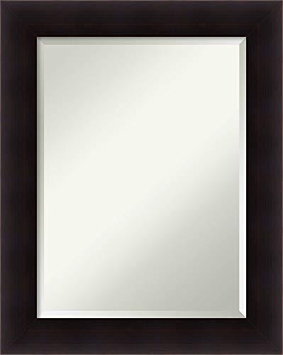 Amanti Art Framed Vanity Mirror | Bathroom Mirrors for Wall | Portico Espresso Mirror Frame | Solid Wood Mirror | Medium Mirror | 29.62 x 23.62 in.