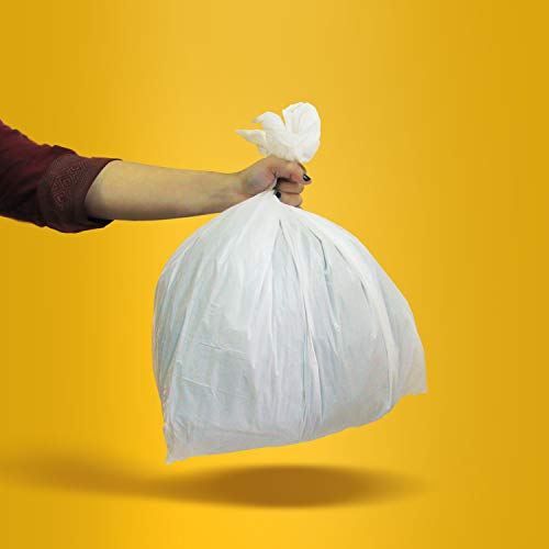 AmazonCommercial Custom Fit White Drawstring Trash Bags - Compatible with simplehuman Type K - 1.2 MIL - 60 Count