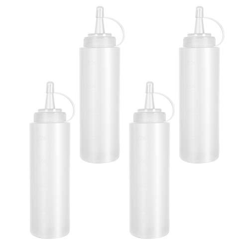 Lainrrew - 4 botellas de plástico de 8 onzas, botellas multiusos para condimentos con tapas y medidas para ketchup, salsa, vestido, artes y manualidades