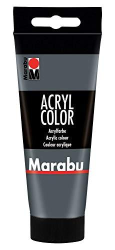 Marabu 12010050079 - Acryl Color dunkelgrau 100 ml, cremige Acrylfarbe auf Wasserbasis, schnell trocknend, lichtecht, wasserfest, zum Auftragen mit Pinsel und Schwamm auf...
