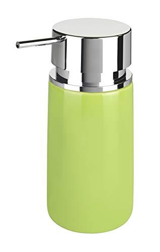 Wenko 54740100 Seifenspender Silo, Flüssigseifen-Spender, Spülmittel-Spender Fassungsvermögen: 0,25 l, Keramik, 6,2 x 16,5 x 6,2 cm, grün