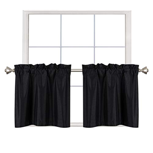 Home Queen Faux Silk Rod Pocket Tier Curtains for Small Window, Short Room Darkening Kitchen Curtains, Cafe Drapes, 2 Panels, 30 W X 24 L Inch Each, Solid Black