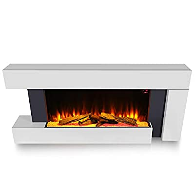 FIDOOVIVIA LED Digital Fireplace White Surround Suite Wall Mounted Wide Electric Fire with Log/Pebble Fuel Bed, Temperature Adjustment, 220V-240V/50Hz, 1000W/2000W for Living Room Bedroom Heater, White