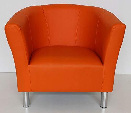 MARTHOME Sillón Club Trio, sillón tapizado, puf, Taburete, sillón de cóctel, sillón de Piel sintética salón, Oficina, Dormitorio, Sala de Espera (Naranja)