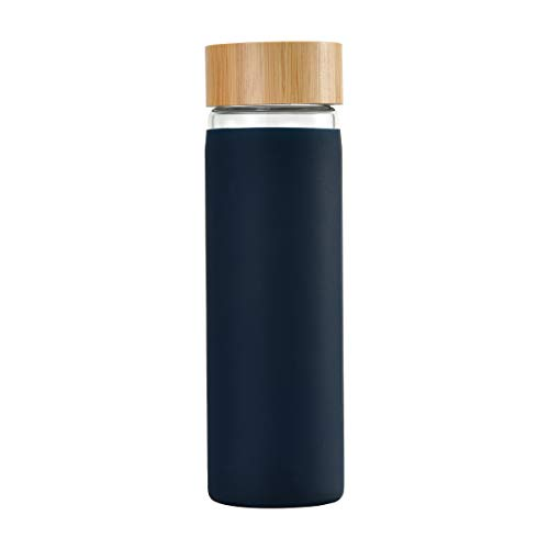 YIXUN BPA-Free Borosilicate Glass Water Bottle with Protective Silicone Sleeve and Bamboo Lid - Dishwasher Safe 20oz (Blue-Black) -  YIHAO